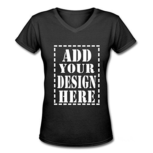 Ladies Trendy Add Your Custom Design Here V-Neck T shirts (M, Black)