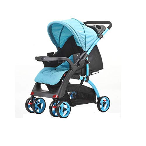 JAZC-Bed Rail Baby Sunshade Stroller Buggy Pushchairs Bassinets with Canopy Crib Baby Cart Infant Travel Carrycots 4 Wheels 3 Colors (Color : Blue)