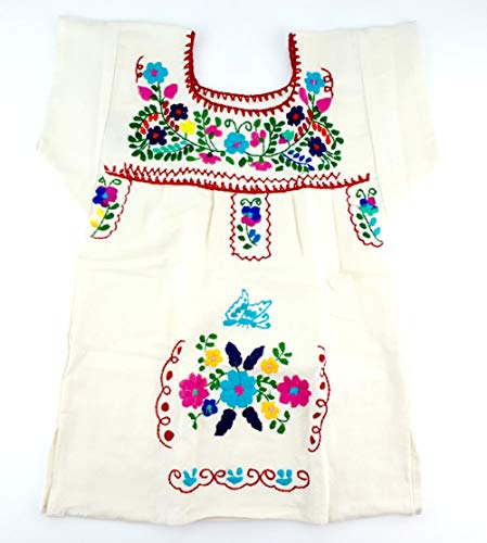 Mexican Infant Dress Size 0 Tehuacan Dress Color Ofwhite Day of The Dead Coco Theme Party Halloween Party ()