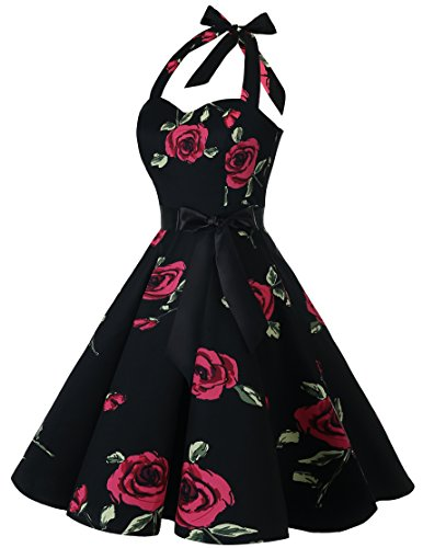 Retro Bridesmay Anni '50 Donna Abito Halter Da Fiore Rosso Vestitos Cocktail Collo YYpqSw