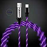 USB Type C Cable,Casa Flowing LED Light up 1M/3ft Fast Chargr USB C Compatible with Samsung Galaxy S9,Note9,S8 Plus,LG G7 G6 V30 V20 Google Pixel 2 (Purple)