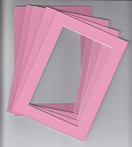 Pack of 5 11x14 Bubble Gum Pink Picture Mats Cut for 8x10 Pictures -