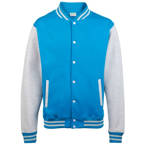 (Awdis Unisex Varsity Jacket (M) (Sapphire Blue/Heather)