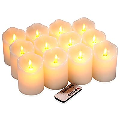 """qinxiang Flameless Candles Flickering LED Candles Set of 12 (D:3"""" X H:4"""") Ivory Real Wax Pillar Battery Operated Candles with Dancing LED Flame &10-Key Remote and Cycling 24 Hours Timer"""