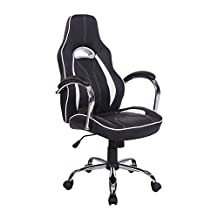 HOMCOM High Back Executive Racing Office Chair PU Leather Swivel Computer Desk Seat Black and White""