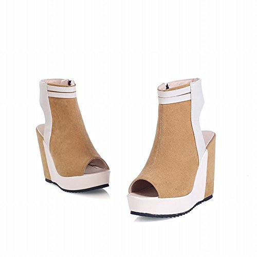 Carol Shoes Chic Womens Cerniera Moda Assortiti Caveau Peep-toe Giallo Estivo