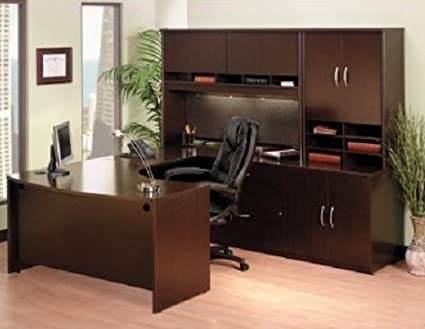 pick up e9caf 2d02d Amazon.com: Bush U Shaped Office Desk W/Hutch Dimensions: 88 ...