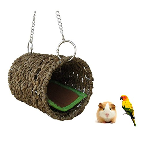 Stock Show Natural Sea Grass Hammock Play Tunnel Hanging Bed Toy House for Pet Rat Hamster by Stock Show