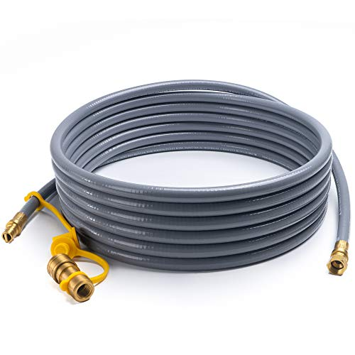 24' Flex Line Gas Connector - X Home 24 Foot Natural Gas and Propane Gas Hose Assembly 3/8