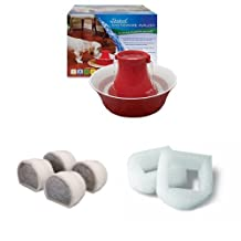 PetSafe PWW00-14376 Red Stoneware Avalon Pet Drinking Fountain + Drinkwell Replacement Charcoal Filters for Avalon and Pagoda Fountains + Drinkwell Replacement Foam Filter for 360 SS and Avalon Fountains-2 Pack Bundle