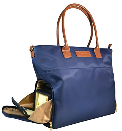 Sarah Wells ''Abby'' Breast Pump Bag, Real Leather Straps (Navy) by Sarah Wells (Image #2)