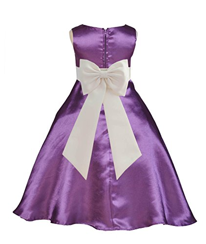 Wedding Pageant Purple A-Line T-Length Flower Girl Dress with Tiebow 821tf 10