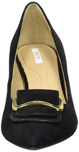 Geox D Elina a, Zapatos de Tacón para Mujer Negro (Black)