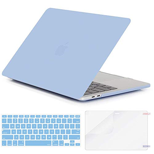 (2018 MacBook Air 13 inch Case Cover, Loovbee Hard PC Smooth Matte Frosted Shell with Silicone Soft Keyboard Skin HD Screen Protector Film for Apple A1932 Retina Display Fits Touch ID - Serenity Blue)