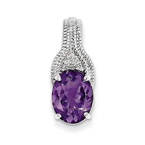 Argent Sterling diamant pendentif améthyste JewelryWeb