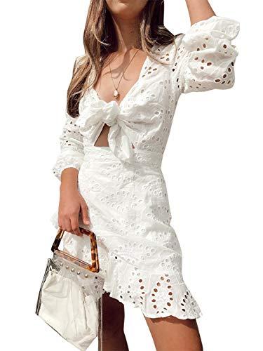 Conmoto Women's Sexy Long Sleeve Lace Ruffle Mini Dress Hollow Out Summer Dress White 4/6