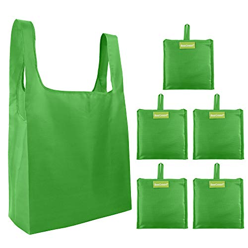 (Cute-Reusable-Grocery-Bags-Green-Eco Friendly Bags 5 Pack Bulk with Small Pocket Folded Shopping Totes Gifts Bags Reusables Grocery Bags Sturdy Lightweight Ripstop Fashion Green )