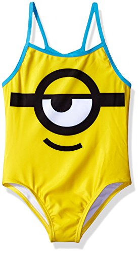 Despicable Me Big Girls' Minion Swimsuit, Yellow, 4 (Kids Minion Suit)
