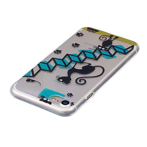 iPhone 7 Coque Escaliers sur le chat Premium Gel TPU Souple Silicone Transparent Clair Bumper Protection Housse Arrière Étui Pour Apple iPhone 7 + Deux cadeau