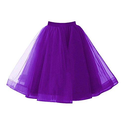 Izanoy Damen Vintage 1950er Rockabilly Tutu Kleid Petticoat Unterrock für Balletttanz Lila EarZHjX93J