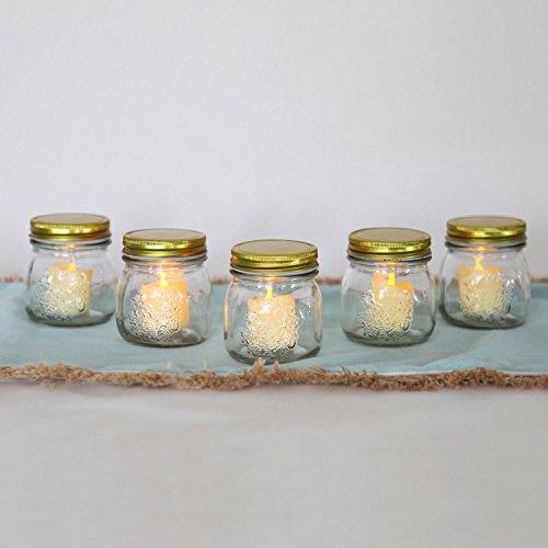 Glass Votive Candle Holder Set, Mason Jars with Flameless Resin Flickering Votives, Batteries Included, Indoor Outdoor Use - Set of 5 (Resin Jar)