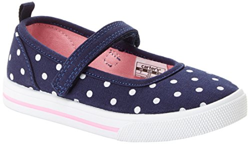 Simple Joys by Carter's Baby Girls' Indie Casual (Slip-on Shoe with a Velcro Strap) Mary Jane Flat, Navy, 7 M US Toddler ()