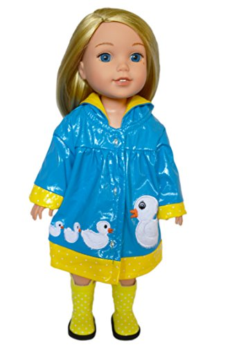My Brittany's Blue Ducky Raincoat and Boots for Wellie Wisher Dolls