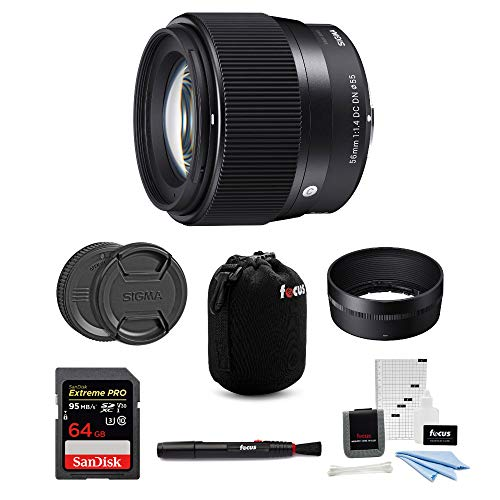 Sigma 56mm f/1.4 DC DN Contemporary Lens for Sony E with 64GB Bundle