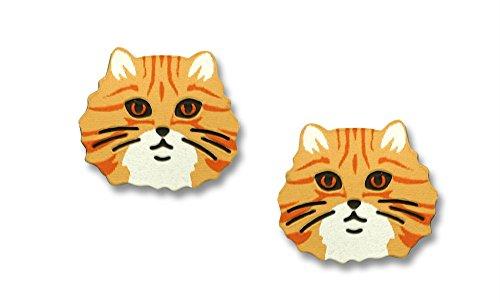 (Sienna Sky Petite Orange Yellow Tabby Cat Face Post Earrings)