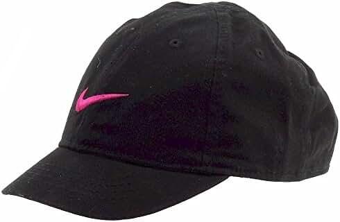 NIKE Just Do It Sports Hat Adjustable Sun Cap (4-6X) (Black w/ Signature Berry Swoosh)