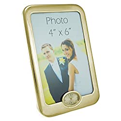 Home Accessories by M&C - Gold Picture Frame With Miniature Clock - Make Every Second Count - BB0072