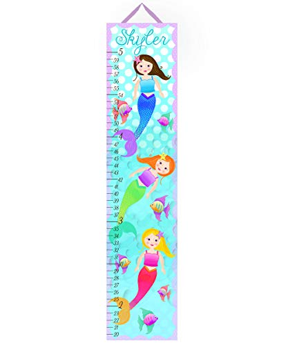 Mermaids Canvas Growth Chart - Toad and Lily Canvas Growth Chart Sweet Little Mermaid Girls Bedroom Baby Nursery Bedroom Wall Art GC0149
