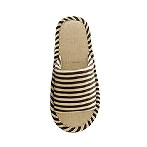 Cattior Mens Stripes Flax Bedroom Slippers House Shoes