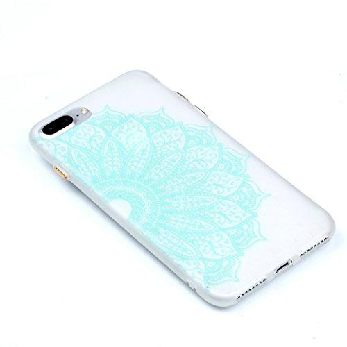 Funda iPhone 7 PLUS AllDo Carcasa de Silicona Luminoso Brillar en Oscuridad Caja Caucho Translúcido Carcasa Liso Peso Ligero Funda Diseño de Patrones Impresos Caja Suave Flexible con Oro Botones Later Mandala