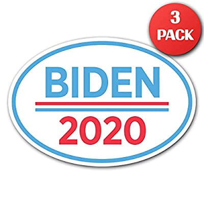 "CUSTOMI 6.5"" x 4.5"" Joe Biden for President Oval Bumper Sticker Decal - 2020 United States Presidential Election Candidate GOP (3): Automotive"