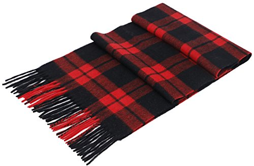 us Cashmere Winter Scarf with Gift Box,Red Black Plaid ()