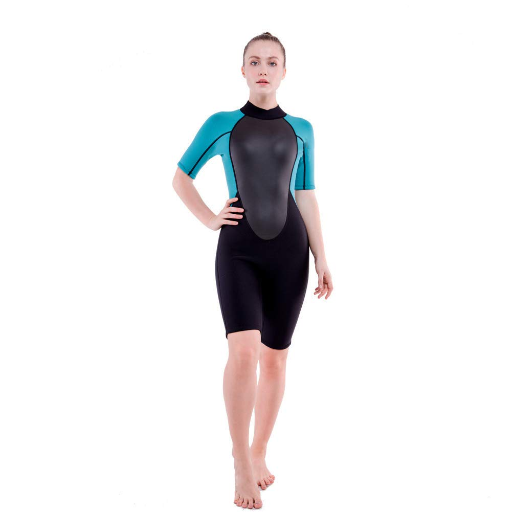 Realon 3mm Shorty Wetsuit Womens CR Neoprene Surfing Scuba Diving Snorkeling Swimming Suit (3mm Shorty Dark/Blue, Medium) by Realon (Image #6)