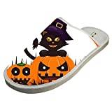 KOUY Cat Pumpkins Witch Hat Closed Toe Cotton Slippers Warm Soft Indoor Shoes Non-watertight 7 D(M) US