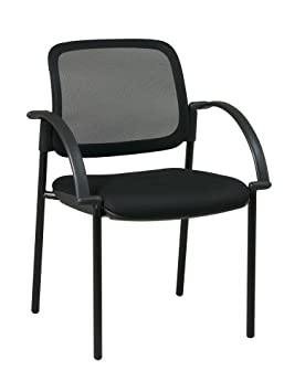 Office Star Screen Back and Padded Mesh Seat Visitor s Chair with Arms, Black