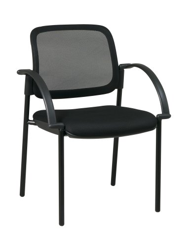 Office Star Screen Back and Padded Mesh Seat Visitor's Chair with Arms, Black - Office Star Traditional Visitors Chair