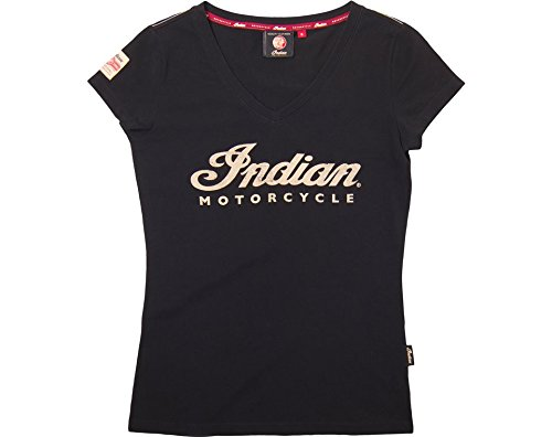 Ecru Print (Indian Motorcycle Women's V-Neck Tee Ecru Logo- 3XL)