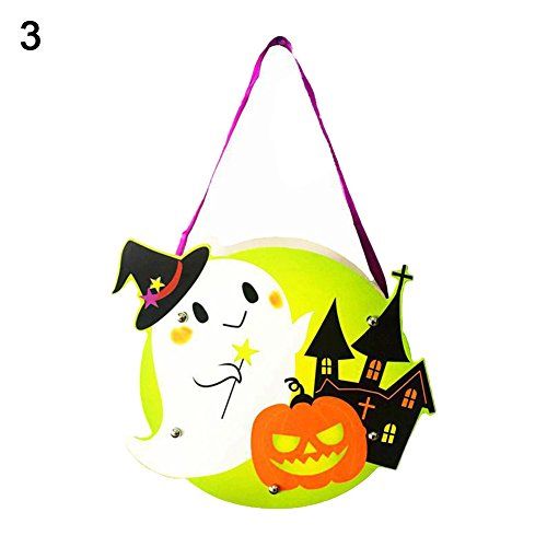 Kids Handwork DIY Halloween Cartoon Ghost Castle Pumpkin Gift Candy Bag Handbag 3 OneSize]()
