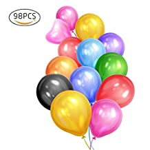 Eightnight 98pcs 16 Colors 12 inches Premium Round Strong and Thick Latex Balloons for Birthday Wedding Party Event decorations partner, water battle fighting game