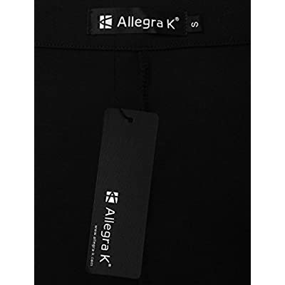Allegra K Ladies Concealed Zip Mid Rise Wide Legged Trousers S Black at Women's Clothing store