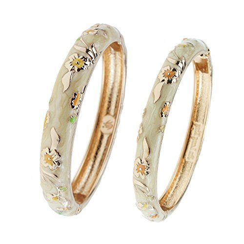 UJOY Designer Jewelry Cloisonne Bracelet Gorgeous Enameled Concise Open Clasp Bangle Bracelets Wedding Gift with Box 55A111-B31 Floral Yellow ()