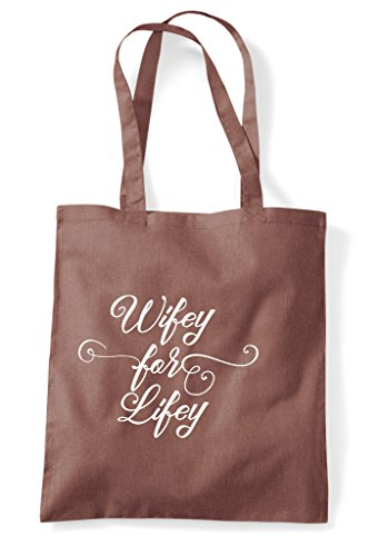 Hen Party Customised - Wifey For Lifey Personalised Hen Do Tote Bag Shopper Chestnut