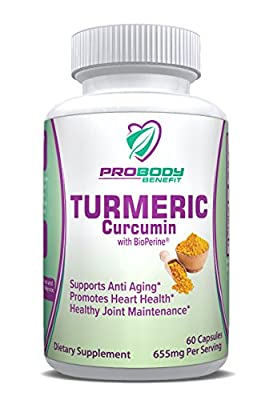 Turmeric Curcumin 650mg Capsules w/Bioperine - Effective Pain Relief & Anti Inflammatory for Healthy Joints - Best Anti-oxidant; Naturally Relieve Anxiety