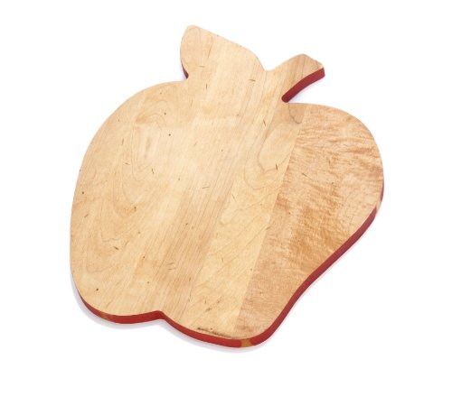 (J.K. Adams Solid Maple Wood Fruit-Shaped Cutting Board, 14-inches by 11-1/2-inches, Apple)