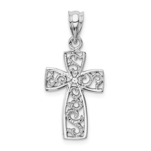 14k White Gold Filigree Cross Religious Pendant Charm Necklace Fancy Fine Jewelry Gifts For Women For Her