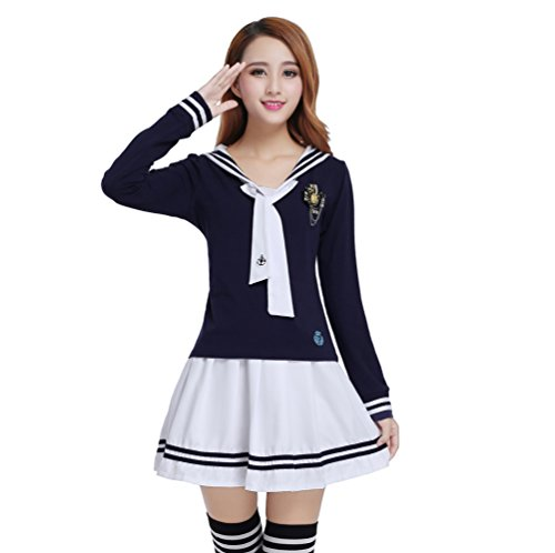 Nuotuo Womens Japanese High School Uniform Sailor Pleated Skirt Outfit